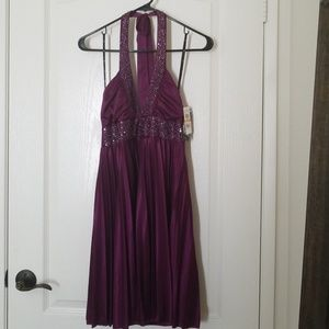 Dresses & Skirts - NWT Sequined Purple Halter Dress